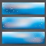 Set of banners, illustration  window glass covered with raindrops on blureed cloudy sky background. Vector set of banners, illustration of glass covered with Royalty Free Stock Images