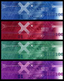 Set of Banners Image / Internet Icons, Arrows, HTML code - Red Blue Green Violet Stock Photography