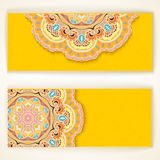 Set banners. Indian ornament. Royalty Free Stock Photos