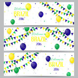 Set of banners with inscription Welcome to Brazil. Set of backgrounds with balloons and with a garland from Brazil flag colors. Invitations to games in Rio de Stock Photo