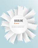 Set of banners with jerrycan.  gas pump on white Stock Image