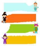 Set of banners with kids in fancy dresses Stock Photo