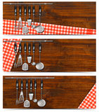 Set of Banners with Kitchen Utensils Stock Photos