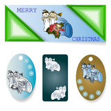 A set of banners, labels with the angels and holiday accessories for Christmas projects. Stock Images