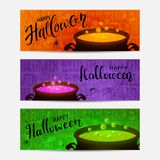 Set of Halloween banners with cauldrons and a potions Stock Photos