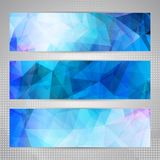 Set of banners with light blue abstract pattern Stock Photography