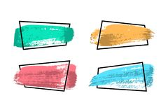 Set of banners made of colored brush strokes and black frames. Vector design elements. Set of banners made of colored brush strokes and black frames. Vector Stock Illustration