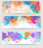 Set of  banners made of paint stains Stock Image