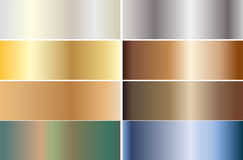 Set of banners made of precious metals. Gold, silver, bronze, platinum, steel. Vector illustration Royalty Free Stock Photo