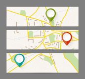 Set of banners with map and color pin pointer Stock Photos