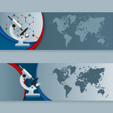Set of banners with  microscope and world map Stock Photo