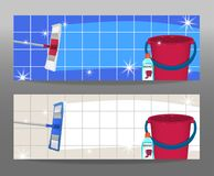 Set banners mop cleaning clean floor shiny and bucket. Disinfectant cleaner for washing floors. Vector. Illustration stock illustration