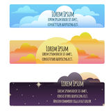 Set of banners with natural weather day, sunset, night Stock Photo