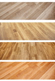 Set of banners with new oak parquet texture Stock Images