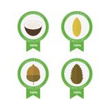 Set of banners nuts. Vector elements for design. Set of circled banners, stickers with nuts in flat style. Vector elements for design. Pine nuts, coconut, acorn royalty free illustration