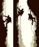 Set Banners Of Alpinists. Stock Image