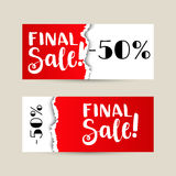 Set banners with offer and hand drawn ink brush lettering. `final sale` on red  torn paper background. Vector, easy to edit Stock Images