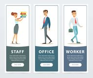 Set of banners with office workers characters in formal clothing. Girl holding folders, boy walking with briefcase, man. Set of banners with people office Royalty Free Stock Images