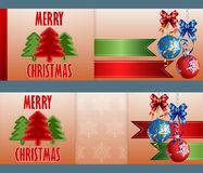 Set of banners with ornamental Christmas balls and bow ribbons. Holidays, abstract design web banner, header; Set of banners with ornamental Christmas balls Royalty Free Stock Photos