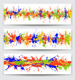 Set of banners with  paint  blots, splashes, drops Stock Images