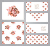 Set of banners, pattern,  and illustrations with red roses Royalty Free Stock Photos