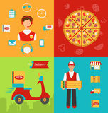 Set Banners with Pizza Delivery Stock Images