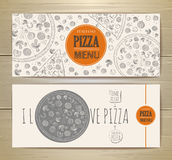 Set of banners with pizza. Royalty Free Stock Photography