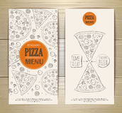 Set of banners with pizza. Sketch illustration Stock Photography
