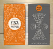 Set of banners with pizza. Sketch illustration Stock Images