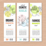 Set of banners with plants vector illustration