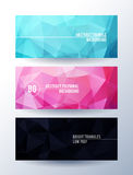 Set of banners with polygonal abstract background Royalty Free Stock Photos