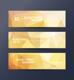 Set of banners with polygonal abstract background Royalty Free Stock Image