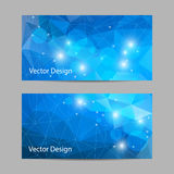 Set of  banners with polygonal background. A set of modern  banners with blue polygonal background Stock Images