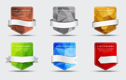 Set of banners with a polygonal background and ribbon Royalty Free Stock Photography