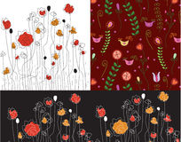 Set of banners with poppy vector illustration