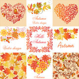 Set of banners and postcards, autumn Stock Image