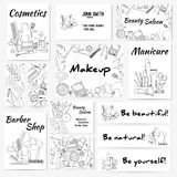 Set of banners, posters and business card with make up artist objects - lipstick, cream, brush. Stock Photography