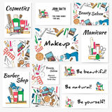 Set of banners, posters and business card with make up artist objects - lipstick, cream, brush. Stock Photos