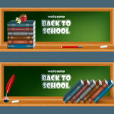 Set of banners with primary subject matter, school books, apple and flowers Royalty Free Stock Photos