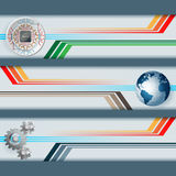 Set of banners with processor chip, cogwheels, earth globe and space for text Royalty Free Stock Photos