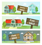 Set of banners property sale. Family house. Stock Images