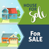 Set of banners property sale. Family house.  Royalty Free Stock Images