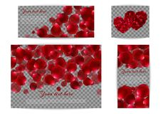 Set of banners with red petals Stock Image