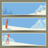 Set of banners with retro winter landscape,  illustration, eps10. Royalty Free Stock Photo