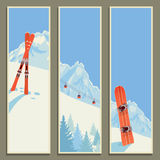 Set of banners with retro winter landscape,  illustration, eps10. Royalty Free Stock Photos