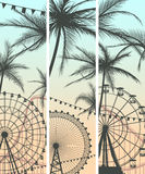 Set of banners with roller-coaster and Ferris Wheel. Set vertical banners of Ferris Wheel from amusement park with beach large palms Royalty Free Stock Photography