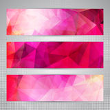 Set of banners with romantic pink triangles Royalty Free Stock Photo