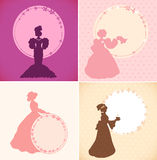 Set of banners with romantic women and round floral frames  Retro design templates in vintage style Royalty Free Stock Photo