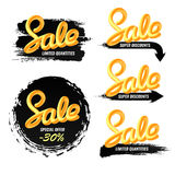 A set of banners sale in a modern style. Handwriting. Blend letters. Royalty Free Stock Photo