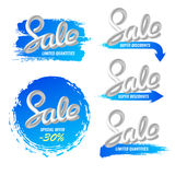 A set of banners sale in a modern style. Handwriting. Blend letters. Royalty Free Stock Image